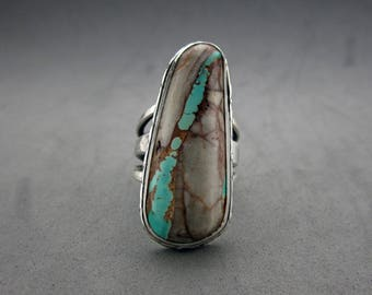 Royston Ribbon Turquoise Sterling Silver Ring, size 9.5