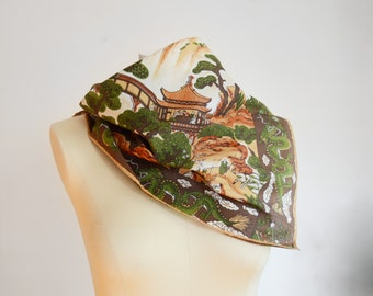 Brown and Green Oriental Scarf with Dragons