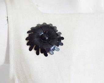 60s Black Metal Flower Brooch
