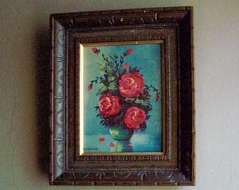 Small Vintage Framed Print /Red Roses in a Blue Vase / Still Life