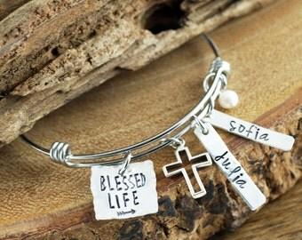 Personalized Mommy Bracelet, Blessed Personalized Bangle Bracelet, Silver Bangle Charm Bracelet, Name Bracelet, Hand Stamped Bracelet