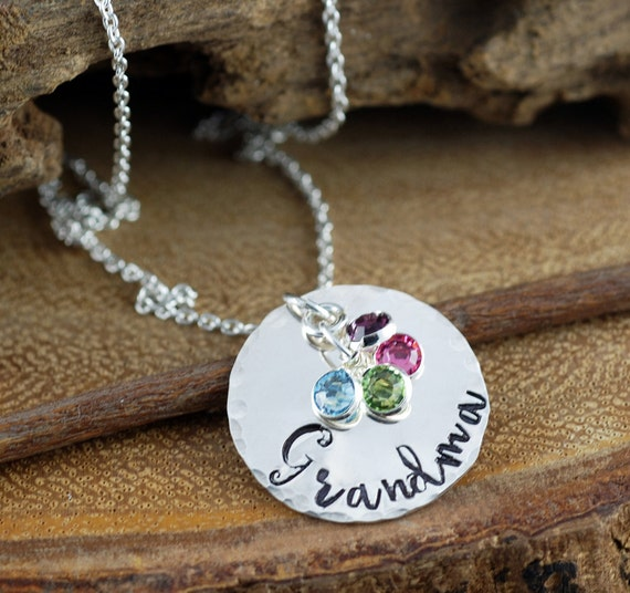 Grandma Birthstone Necklace, Gift for Grandma, Grandma Jewelry, Nana Necklace, Personalized Jewelry, Mommy Necklace, Gift for Nana