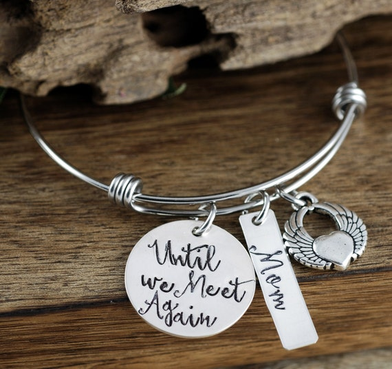 Memorial Jewelry, Sympathy Gift, Personalized Jewelry, Angel Wing Bracelet, Hand Stamped Bracelet, Loss of Loved One, Until we Meet Again