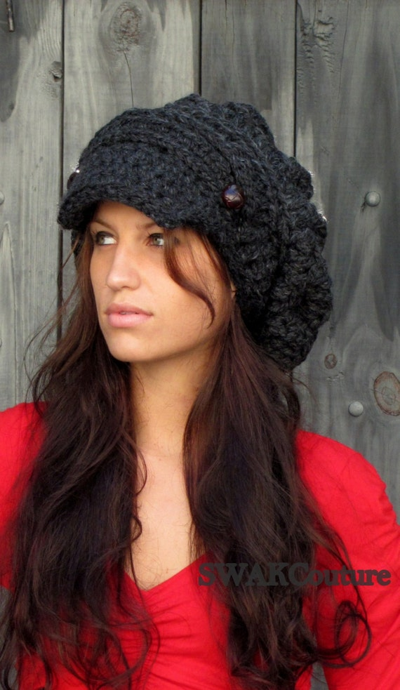 Slouchy Hat Womens Newsboy Cap Tam Handmade Two Leather Button Band Hat Chunky Hat Slouchy Beanie Charcoal Gray or Choose Color