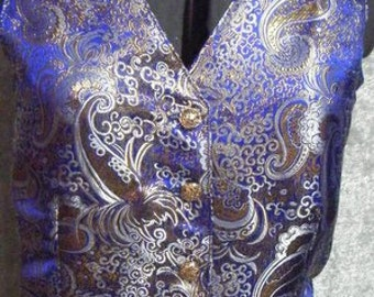 Reduce for Final Sale Saddleseat Brocade Royal Blue with Gold, White Paisley Print Ladies Vest Size 14