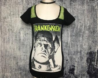 Frankenstein Women's T-Shirt // Reconstructed T-Shirt // Size Small // Halloween Alternative Gothic Goth Horror