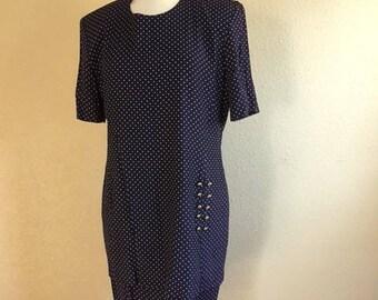 Vintage NAVY Blue And White POLKA Dot Dress / 1980s Michael Blair / FAUX Two Piece Dress / Womens Plus Size Dress