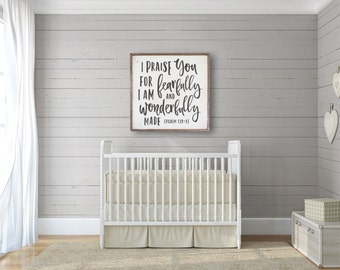 "Nursery Wall Sign ""Wonderfully Made"" | Kids Wall Decor, Kids Room Art, Christian Sign, Fixer Upper Wall Decor, Bible Verse Sign, Farmhouse"