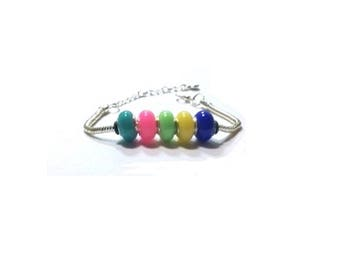 Multicolor  European Beaded Bracelet , European Beads  Bracelet  , 4MM Silver Snake Chain