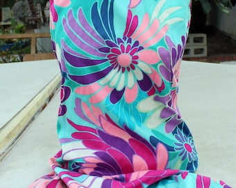 STUNNING colorful floral 1960s 1970s vintage fitted dress// Alice of California// women's dress size small-xs//sleeveless