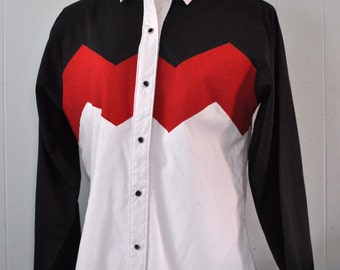 Vintage Cowgirl Western Shirt Black Red White Chevron Zig Zags Color Vlock MEDIUM SMALL
