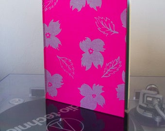 Basic Beautiful Hardcover Sketchbook - Pink with Grey Poppy Pattern and Sky Blue End Paper