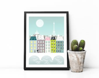 Paris Print, Paris Art Print Poster, Eiffel Tower Paris Skyline Wall Art Prints, Paris Cityscape Illustration, Nursery Prints Art. SPPPB1