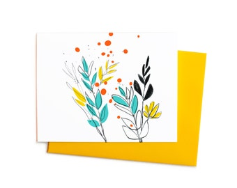 Blank Thank You Note Bohemian Wild Flowers in Yellow, Aqua, Persimmon and Black
