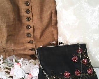 black beaded bag, small evening bag, red beaded bag, black beaded purse, 90s does victorian, victorian bag, edwardian bag