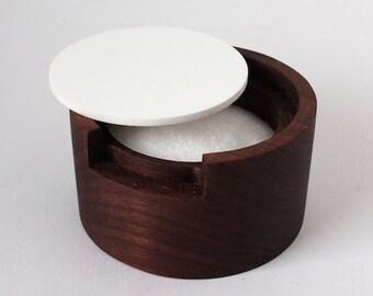 Modern Round Walnut Salt Box with White Lid - Dark wood salt cellar