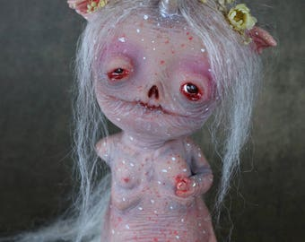 RESERVED! -FINAL PAYMENT- Battle - art doll ooak pure sculpt fantasy creature imaginary friend magical fairy tales creatures unicorn monster