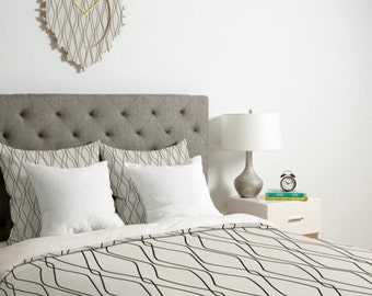 Modern Duvet Cover // Minimalist Geometric Design // Twin, Queen, King Sizes // Bedding // Home Decor // Fuge Stone Design // Neutral Colors