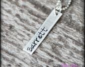 Long Bar Necklace, Silver Bar Necklace, Hand Stamped Bar Necklace, Gold Hand Stamped Bar Necklace, Rectangle Tag, Vertical Bar, Mama Mia
