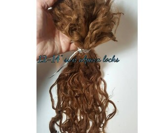 "Suri Alpaca Locks, 12-14"" Unwashed Suri Alpaca Lock, Long Locks, Brunette Doll Hair, Super Long Locks"