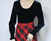 Black Blouse Velvety Vintage Peasant Style Long Sleeve Blouse Size Medium