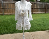 Altered Women's Lace Top, Altered Couture, Magnloia Pearl Style- Medium, Lace Shrug, Shabby Chic Jacket, Romantic Top, White Lace Tunic