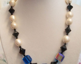 Vintage 1950's  Necklace Glass Beads Faux Pearls Black Royal Blue Aurora Borealis Square Beads