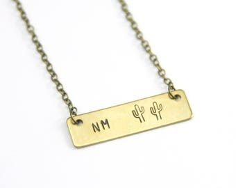 Custom State Cactus Bar Necklace | Personalized Stamped Necklace | State Love | Brass Jewelry | Gift under 25
