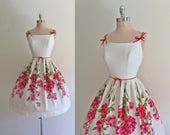 RESERVED for Adriana Vintage 1950s Pink Roses Print Cotton Full Skirt Summer Sun Dress S