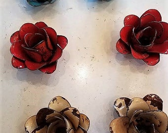 Shabby Blue chippy painted metal roses/ Set of 2