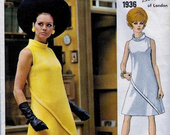 VOGUE Couturier Design Pattern 1936 * London Designer Belinda Bellville - Semi-fitted A-line Asymmetrical Dress  *Bust 36* UNCUT