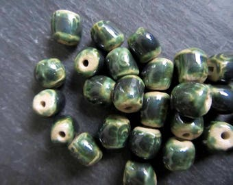 Metallic Green Beads Ceramic Glossy Copper Green Square Eye Patterned Beads Handmade Clay Pottery 555