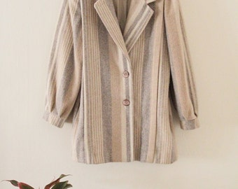80's Striped Wool Coat