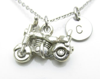 Motorcycle Necklace, Personalized, Initial Necklace, Biker Necklace, Silver Motorcycle Charm, Monogram Necklace, Stamped Initial Letter Y438