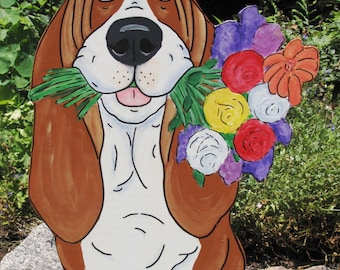 "Made to Order Hand Painted Basset Hound Yard Art - ""Rose"""