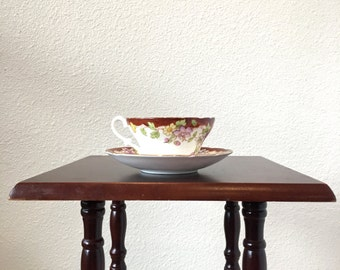 Vintage Tea Cup and Saucer with Floral Print and Rust Red Border - Bone China