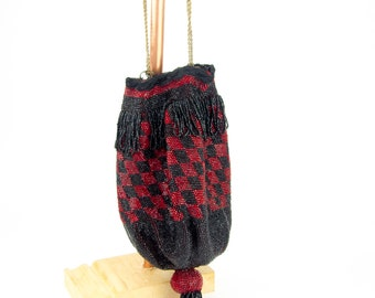 Antique Red and Black Purse | Vintage Beaded Handbag | Large Antique Art Deco Purse or Reticule
