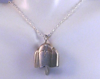 KISMET BELL, Vintage Sterling Silver Silverware Bell Pendant with Scalloped Design on 18 inch Sterling Silver Bead Chain, BLL3
