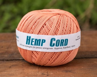 Macrame  Cord, 0.5mm, 10lb, 630 Feet, 100%  Hemp Fiber, Jewelry Cord, Peach