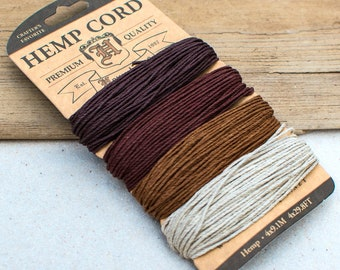 Brown Hemp Cord, Shades of Bronze, 1mm, Twine, Jewelry Making Cord -CH37