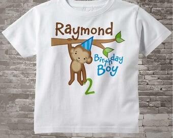 Birthday Shirt, Monkey Shirt, Personalized Shirt, Birthday Boy Monkey Tee Shirt or Onesie any age 12312013j
