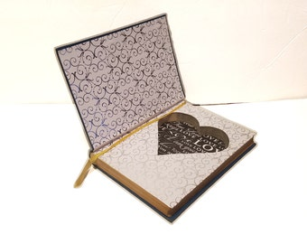 Hollow Book Safe Couples Heart Shape Cloth Bound vintage Secret Compartment Security hiding place