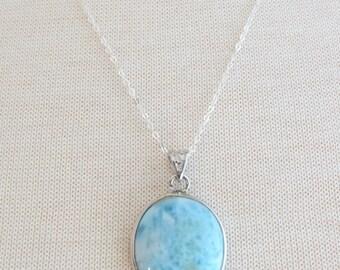 Silver Round Larimar Necklace, Silver Necklace, 20 inch Silver Chain, Round Larimar Pendant