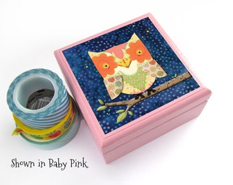 OWL perched on a Branch Square Wooden Box - Constellation, Small Square Jewelry Box - Birthday Gift for children