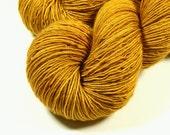 Hand Dyed Yarn - Sock Weight Superwash Merino Wool Singles Yarn - Honey Mustard - Knitting Yarn, Sock Yarn, Wool Yarn, Yellow Gold Fingering