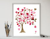 Owl on Hearts Tree art  Print, Personalized print , Valentine gift,  girls wall art , baby shower , nursery decor, pink brown