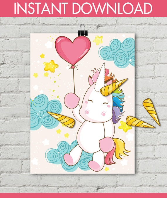 Unicorn Party Pin The Horn Unicorn Game 18x24