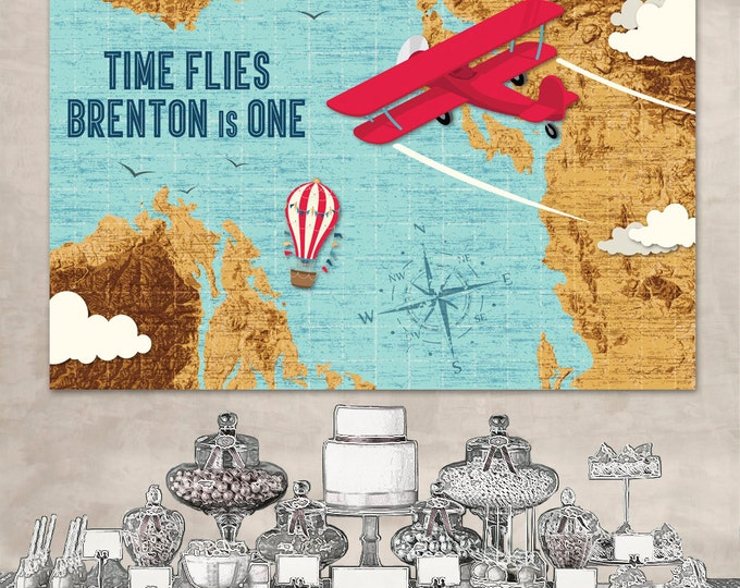 "Airplane Party 60""x40"" Backdrop - Biplane, Map, Aviator Birthday, Retro Aviator Party 