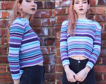 Vintage Striped 90s Crop Top