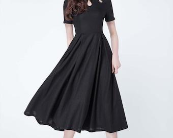 linen dress, black dress, short sleeves dress, summer dress, pleated dress, fit and flare dress, prom dress, party dress, modern dress 1729